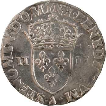 Charles X, quart d'écu croix de face, 1590 Paris