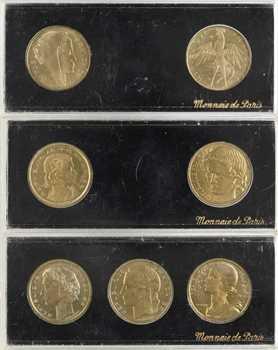Ve République, 3 coffrets Monnaie de Paris de 7 essais de 20 centimes, 1961 Paris