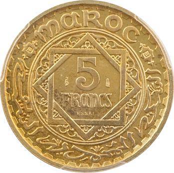 Maroc, Mohammed V, essai de 5 francs, AH 1365 (1946) Paris, PCGS SP65