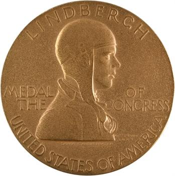 États-Unis, Lindbergh, par L. G. Fraser, Médaille du Congrès, 1928