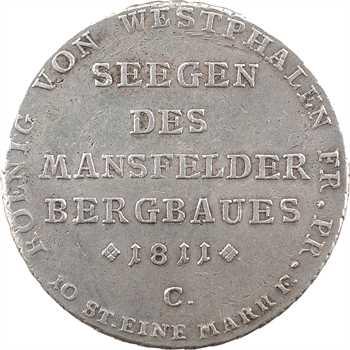 Allemagne, Westphalie (royaume de), Jérôme Napoléon, thaler des mines 1er type, 1811 Clausthal