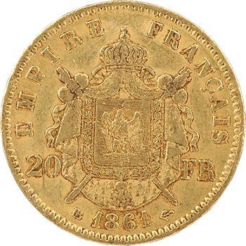 Second Empire, 20 francs tête laurée, 1861 Strasbourg