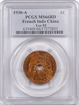Indochine, 1 centième, 1930 Paris, PCGS MS66RD