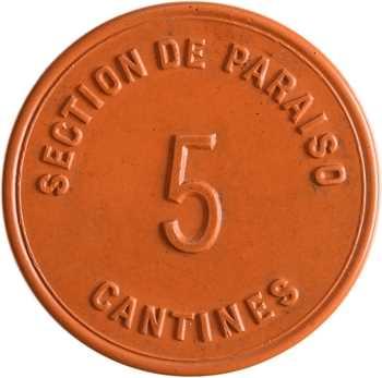 Panama, section de Paraiso, monnaie de nécessité de 5 centavos, s.d. (1881-1888)