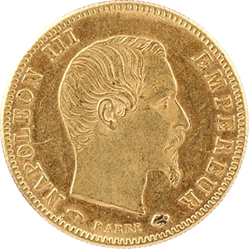 Second Empire, 5 francs tête nue, grand module, 1859 Paris