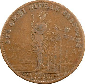 Amérique, Canada, Louis XV, jeton aux lis et Indien par Duvivier, 1751 Paris