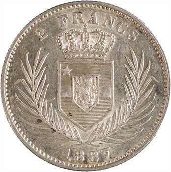 Congo belge, Léopold II, 2 francs, 1887 Bruxelles