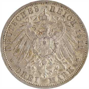 Allemagne, Prusse (royaume de), Guillaume II, 3 mark, 1911 Berlin