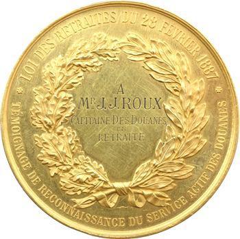 IIIe République, retraite douanes capitaine Roux, médaille d'or par F. Vernon, 1887 Paris