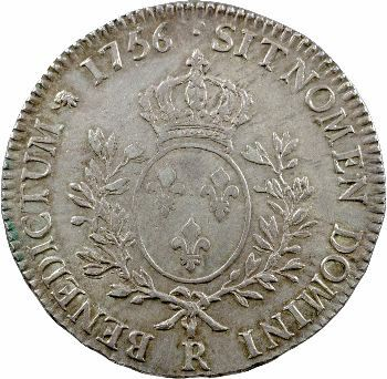 Louis XV, écu au bandeau, 1756 Orléans