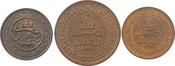 Maroc, Abdül Aziz I, lot de 3, 2 x 2 mouzounas et 5 mouzounas, AH 1320 et 1321 (1902 et 1903) Fès