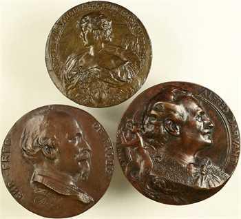 Deloye (J.B.G) : lot de 3 fontes, Christian Frédéric de Falbe, la Princesse Galatro, Alfred Darvant, c.1890