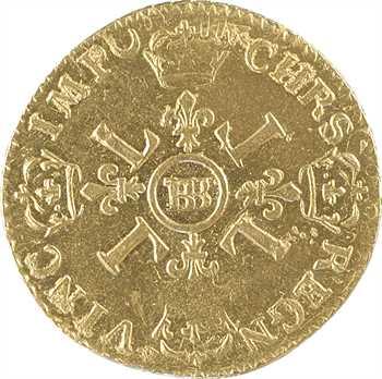 Louis XIV, louis d'or aux quatre L, 1695 Strasbourg