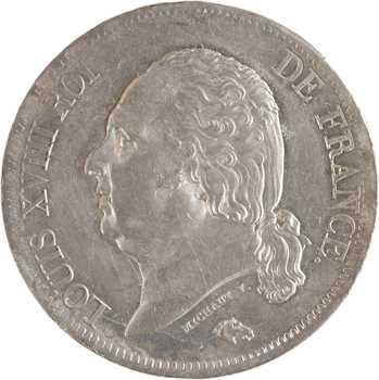 Louis XVIII, 5 francs buste nu, 1818 Rouen