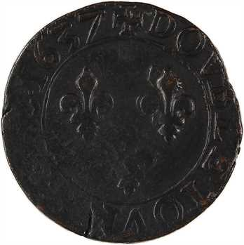 Louis XIII, double tournois, 1637 Tours