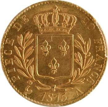 Louis XVIII, 20 francs buste habillé, 1815 Paris, PCGS MS64