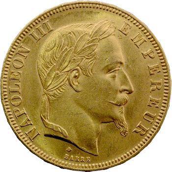 Second Empire, 50 francs tête laurée, 1866 Paris
