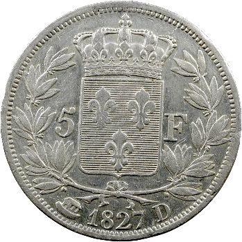 Charles X, 5 francs 2e type, 1827 Lyon