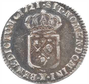 Louis XV, douzième d'écu de France, 1721 Bourges