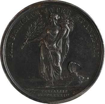 États-Unis / France, Louis XVI, le traité de Versailles, par Duvivier (DU VIVIER), détournée en mariage de mariage, 1783 (1827) Paris.