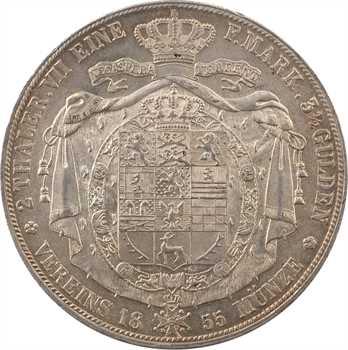 Allemagne, Brunswick-Wolfenbüttel, Guillaume, double thaler, 1855 Hanovre, PCGS MS62