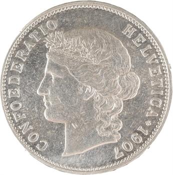 Suisse, Confédération helvétique, 5 francs, 1907 Berne
