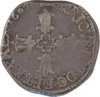 Henri IV, quart d'écu, croix feuillue de face, 1604 La Rochelle