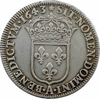 Louis XIII, demi-écu d'argent, 3e type (2e poinçon), 1643 Paris