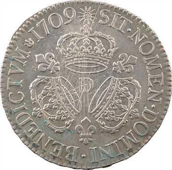 Louis XIV, écu aux trois couronnes, 1709 Lyon