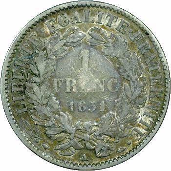 IIe République, 1 franc Cérès, 1851 Paris