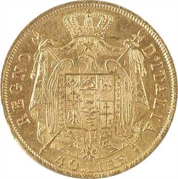 Italie, Napoléon Ier, 40 lire tranche en creux, 1814/04 Milan