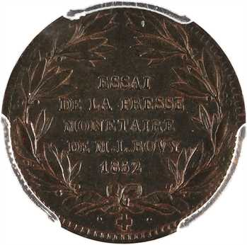 IIe République, essai de presse monétaire par A. et L. Bovy, module 20 francs, 1852 Paris, PCGS SP62BN