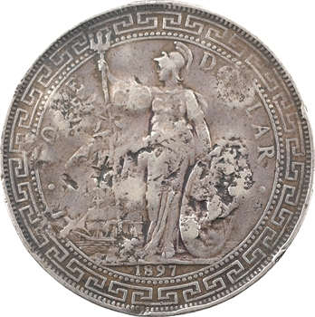 Indochine/Indes anglaises, trade dollar, 1901 Bombay contremarques