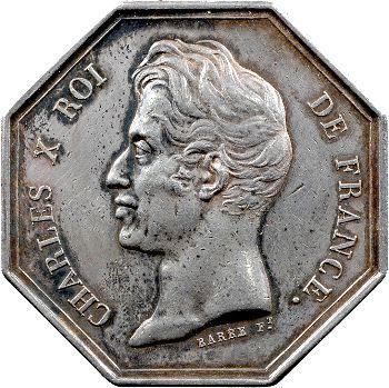 Charles X, jeton de la banque de Guadeloupe, 1826
