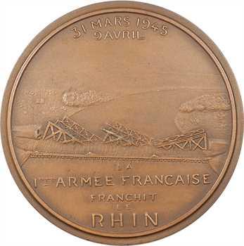 IIe Guerre Mondiale, le général de Lattre de Tassigny et le franchissement du Rhin, par Rivaud, 1945 Paris