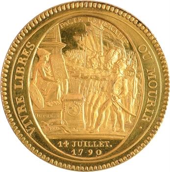 Constitution, cinq sols de Monneron au serment, bronze-doré et tranche Paris, Rhône etc., 1792 Birmingham