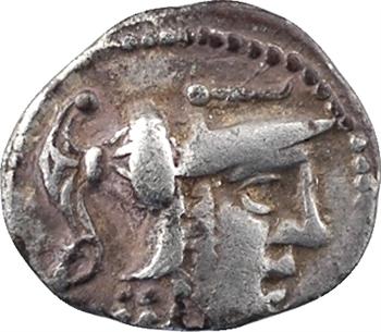 Aulerques Cénomans (ou Carnutes), denier à la tête de Pallas, c.80-50 av. J.-C