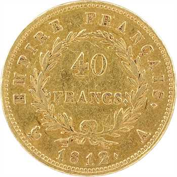 Premier Empire, 40 francs Empire, 1812 Paris (bavure de métal)