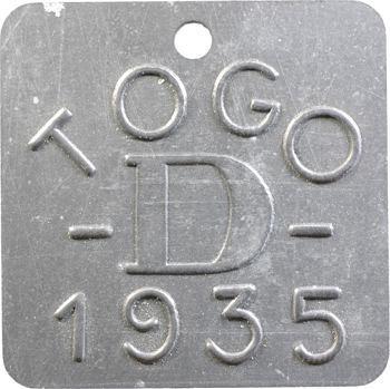 Togo, plaque de taxe, D, 1935