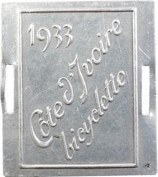 Côte d'Ivoire, plaque de taxe de bicyclette, 1933
