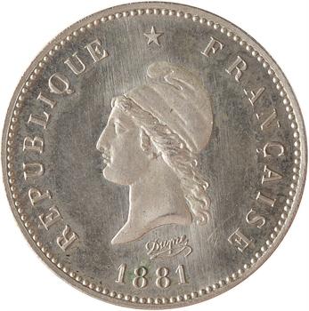 IIIe République, essai de 5 centimes Dupré, flan rond, 1881 Paris