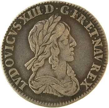 Louis XIII, douzième d'écu d'argent, 3e type (2e poinçon), 1642 Paris (rose)