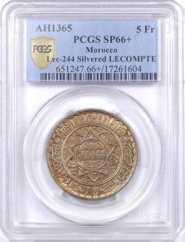 Maroc, Mohammed V, 5 francs argentée, AH 1365 (1946) Paris, PCGS SP66+