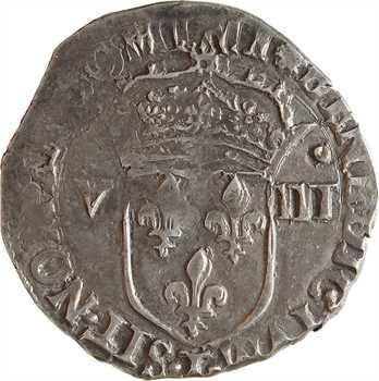 Charles X, huitième d'écu, croix de face, 1592 Nantes