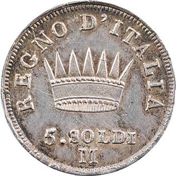 Italie, Napoléon Ier, 5 soldi tranche en creux, 1812 Milan