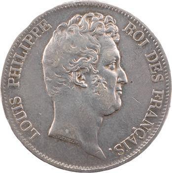 Louis-Philippe Ier, 5 francs Tiolier sans le I, tranche en creux, 1830 Lille