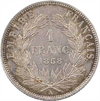 Second Empire, 1 franc tête nue, 1858 Paris