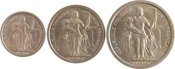 Nouvelle-Calédonie, série de 3 essais, 50 c., 1 et 2 francs, 1949 Paris