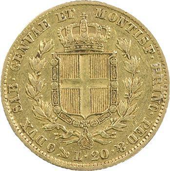 Italie, Savoie-Sardaigne, Charles-Albert, 20 lire, 1845 Gênes