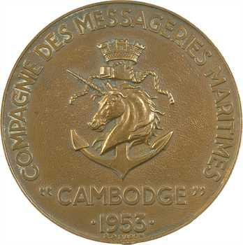 IVe République, Messageries Maritimes, le paquebot Cambodge, par Baron, 1953 Paris